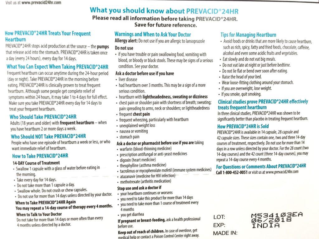 What You Should Know Prevacid 24 Hour Heartburn Reducer Drug