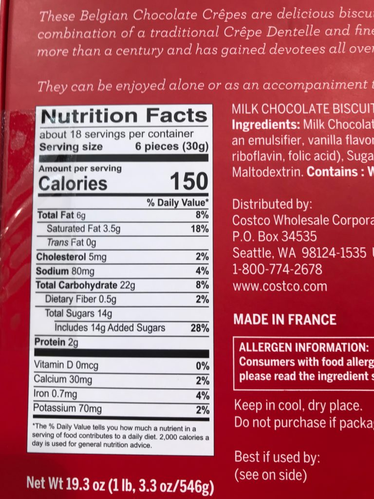 Kirkland Signature Belgian Chocolate Crepes Nutrition Facts Ingredients
