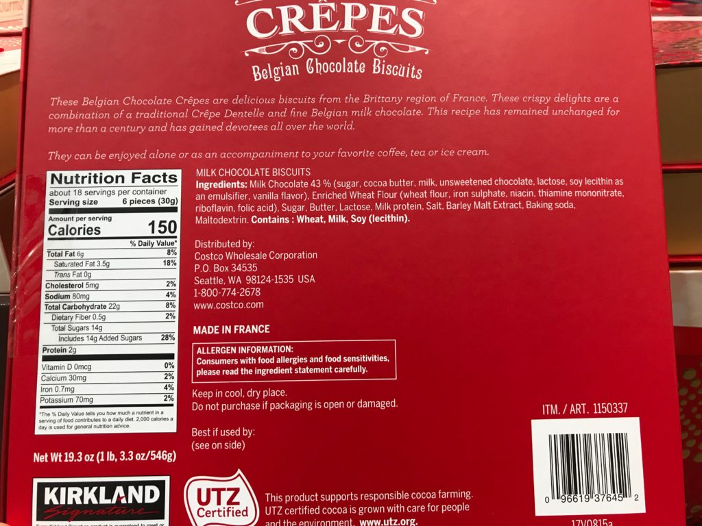 Kirkland Signature Belgian Chocolate Crepes Ingredients List Product Description