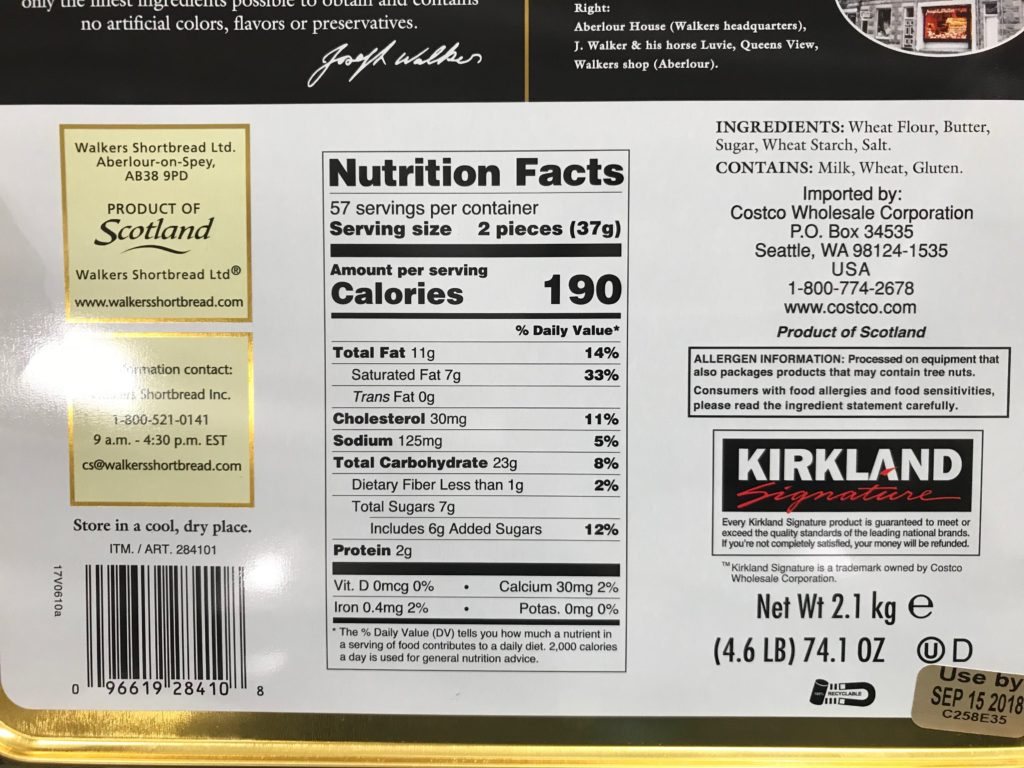 Kirkland Signature Walkers Shortbread Nutrition Facts & Ingredients List