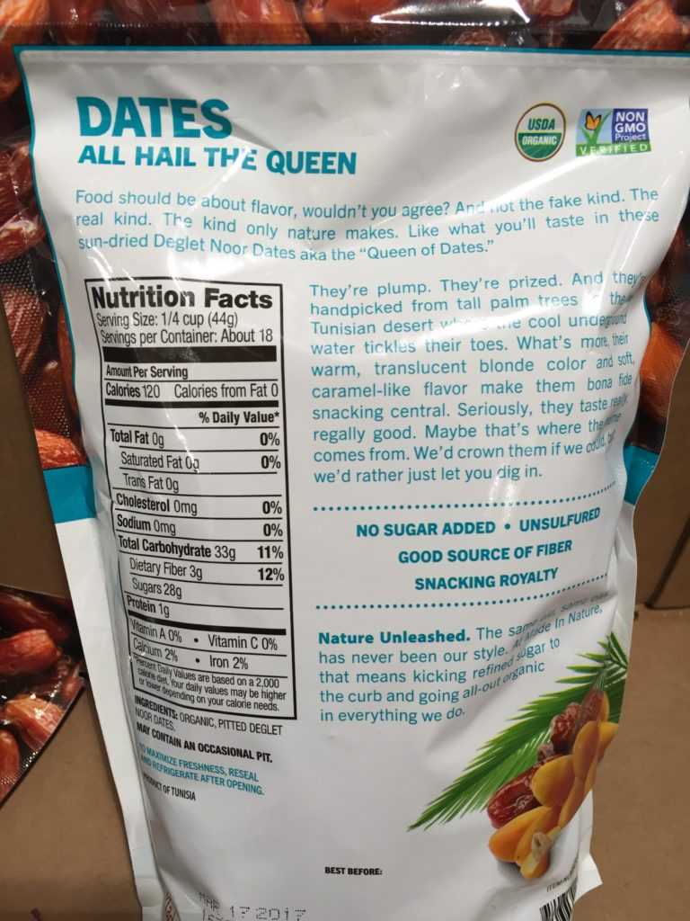 Made in Nature Organic Dried Deglet Noor Dates Nutrition Facts
