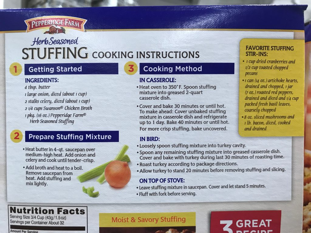 Pepperidge Farm Herb Seasoned Stuffing Cooking Instructions