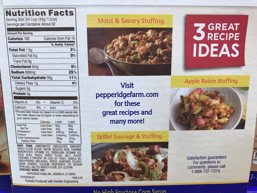 Pepperidge Farm Herb Seasoned Stuffing Nutrition Facts Ingredients List