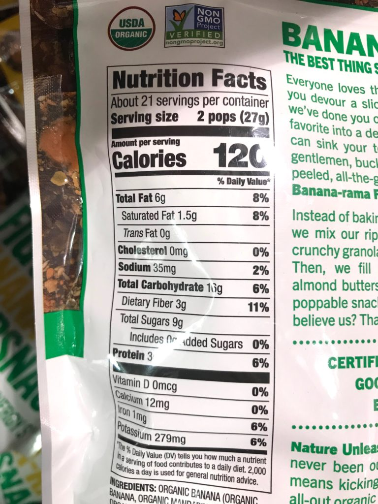 Made in Nature Figgy Pops Banana Fruit and Nut Snack Nutrition Facts