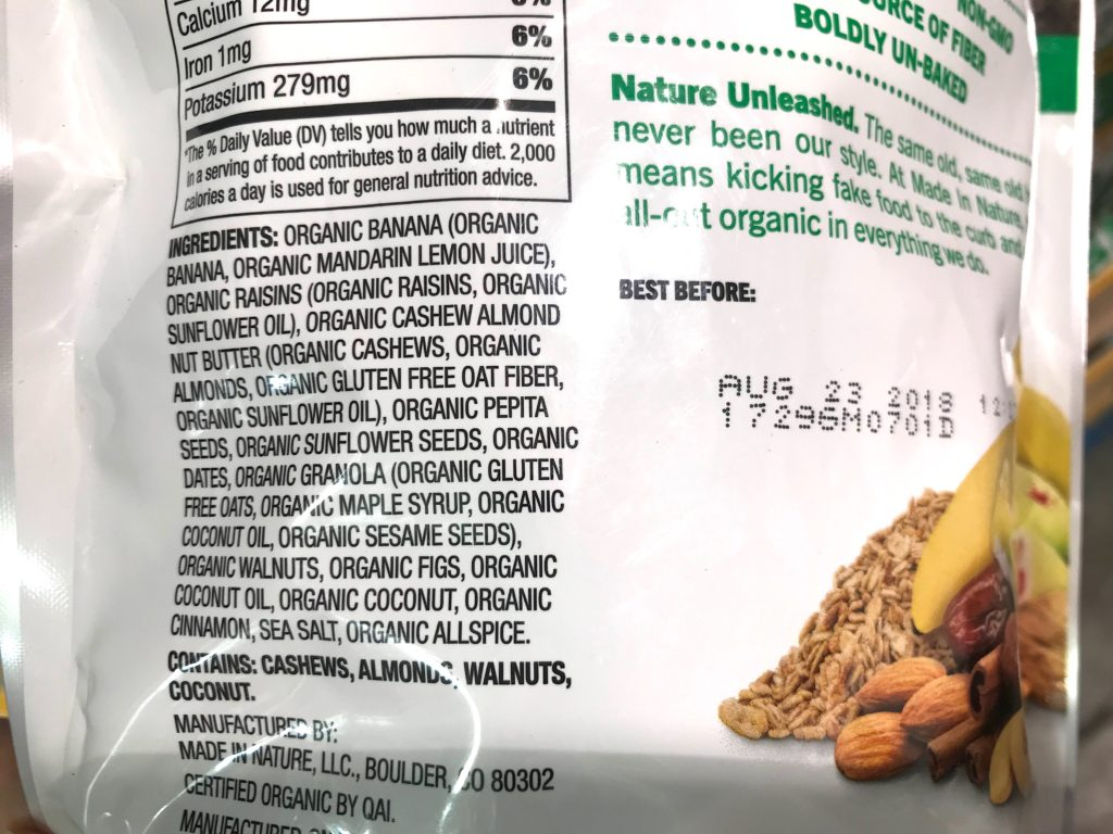Made in Nature Figgy Pops Banana Fruit and Nut Snack Ingredients List