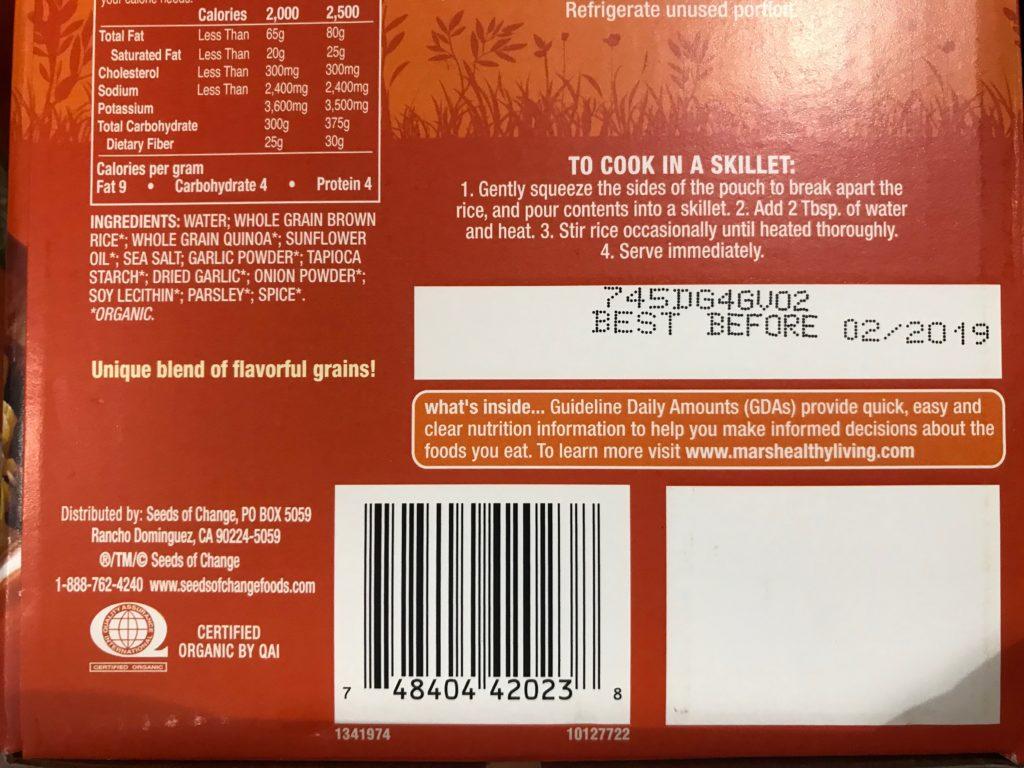 Seeds of Change Quinoa Brown Rice with Garlic Ingredients List