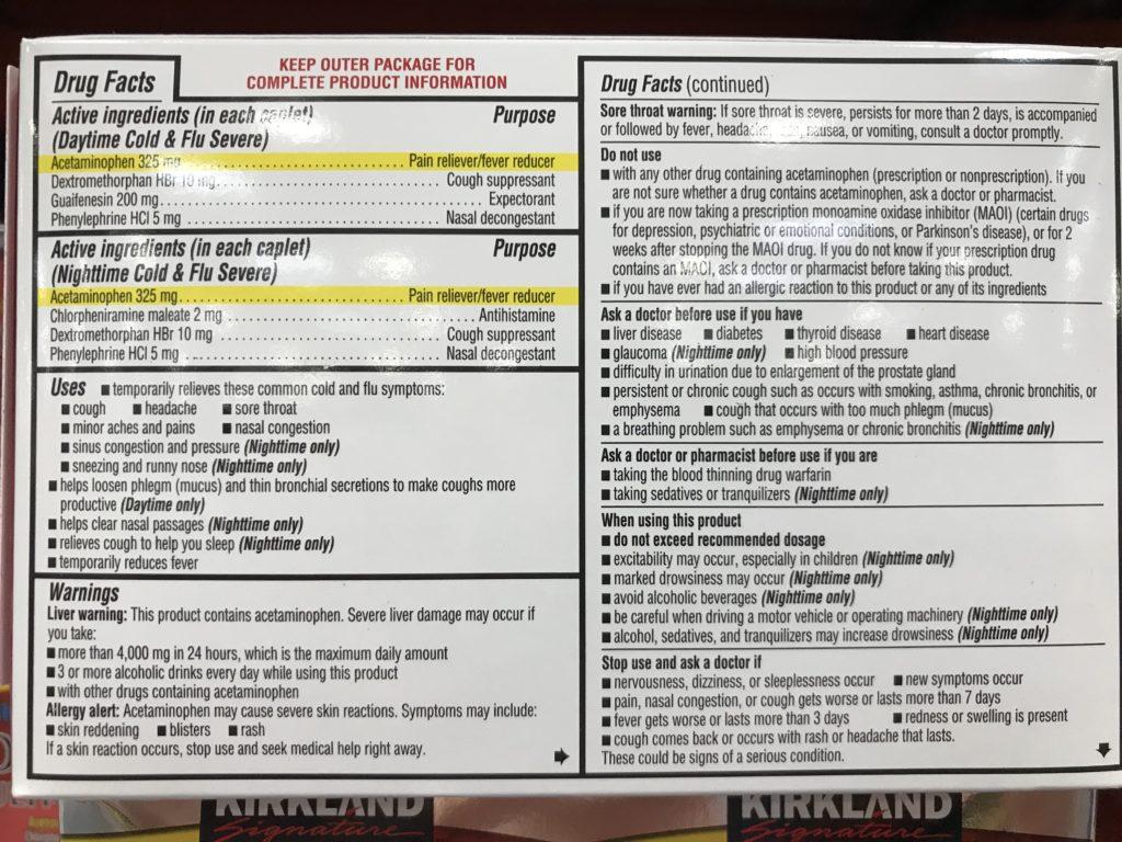 Kirkland Severe Cold & Flu Symptom Reliever Back Panel Drug Facts Ingredients