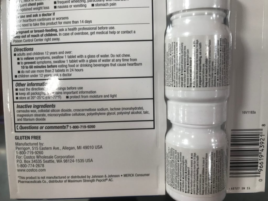 Kirkland Signature Famotidine Acid Controller Product Back Panel Description