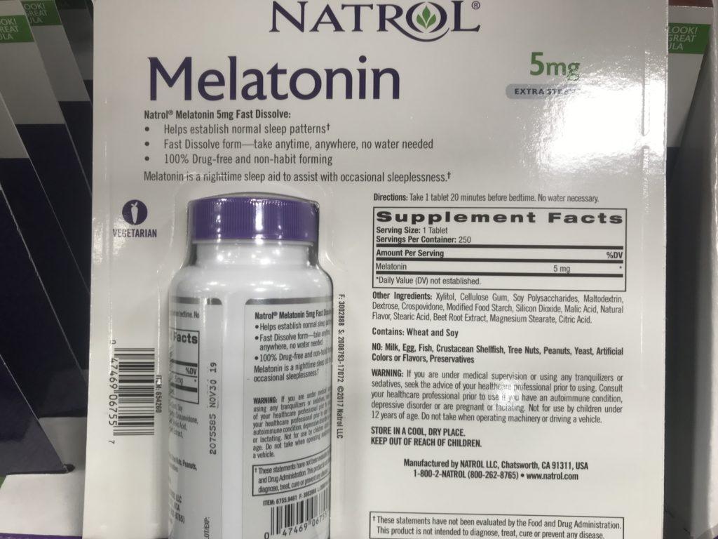 Natrol Melatonin for Sleep Back Panel Drug Facts Ingredients List