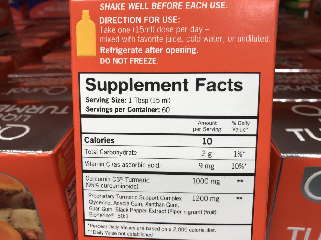 Qunol Liquid Turmeric Curcumin Supplement Facts