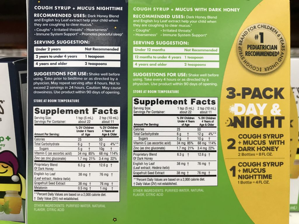 Zarbee's Naturals Cough Syrup + Mucus Product Back Panel Drug Facts Ingredients
