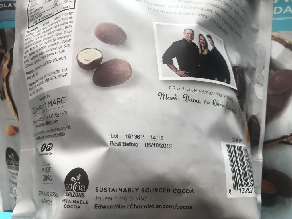 Edward Marc Coconut Chocolate Almonds Ingredients List