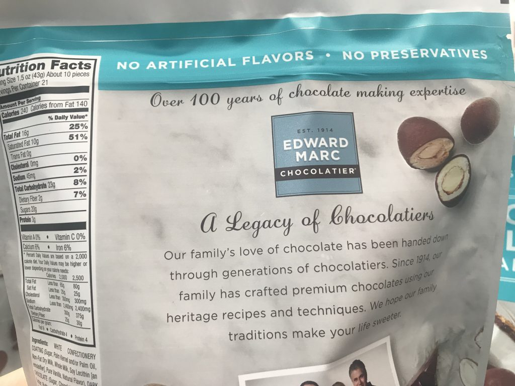 Edward Marc Coconut Chocolate Almonds Product Description Legacy of Chocolatier
