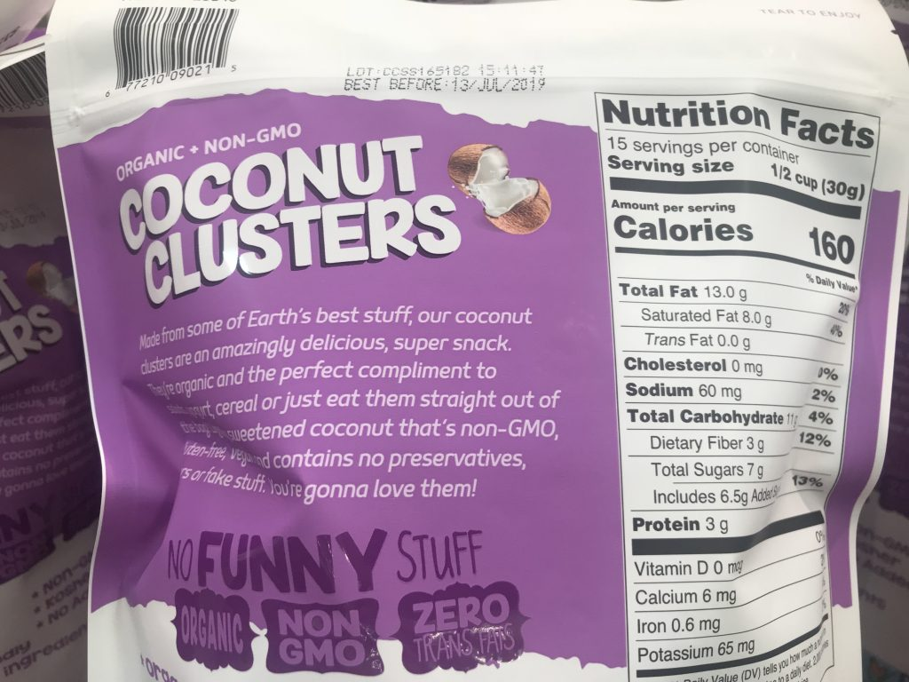 InnoFoods Coconut Clusters Nutrition Facts About the Product