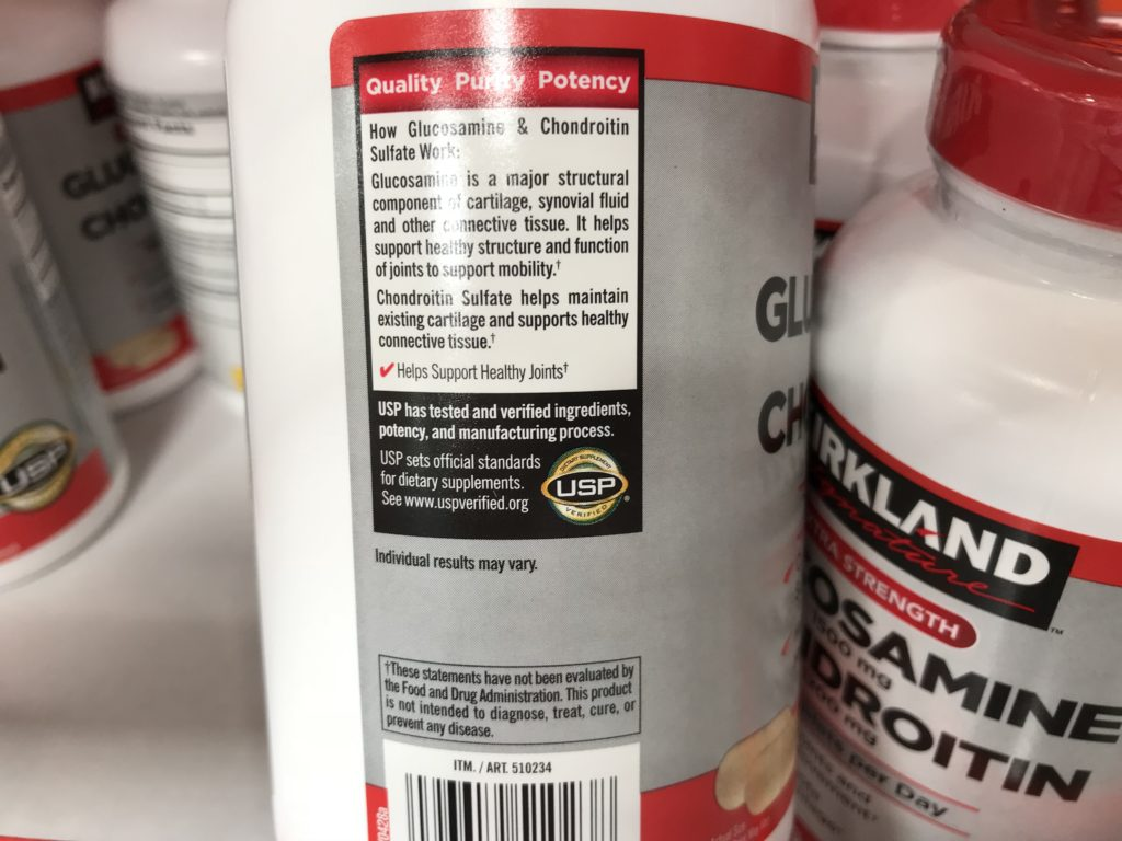 Kirkland Signature Glucosamine and Chondroitin Joint Supplement Quality Guarantee Potency