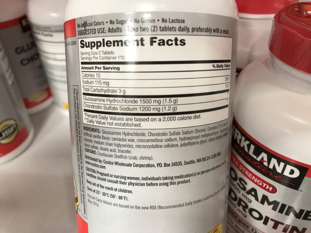 Kirkland Signature Glucosamine and Chondroitin Joint Supplement Supplement Facts Ingredients List