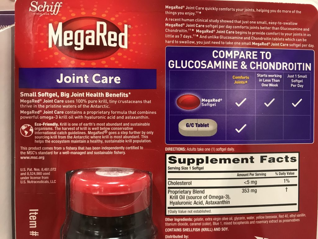 MegaRed Joint Care Back Panel Product Description