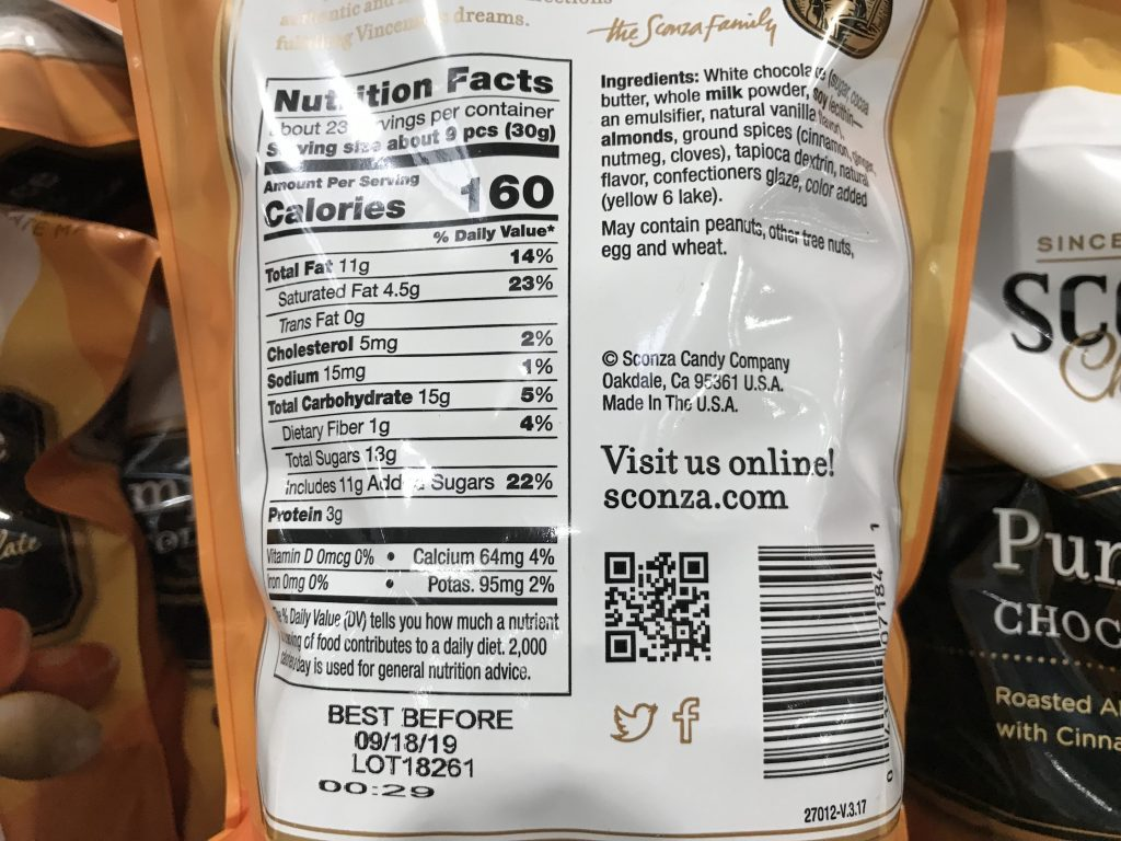 Sconza Pumpkin Spice Chocolate Almonds Nutrition Facts and Ingredients List