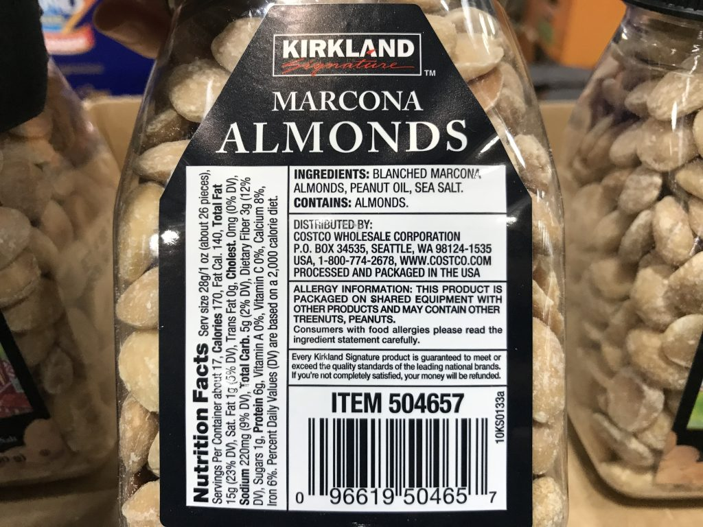 Kirkland Signature Marcona Almonds Ingredients List