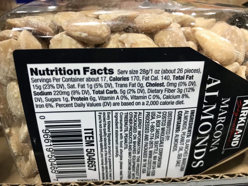 Kirkland Signature Marcona Almonds Nutrition Facts